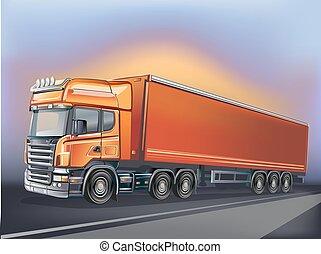 laranja, movimento, vetorial, caminhão
