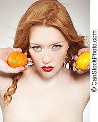 laranja, mulher, limão, jovem, segurando