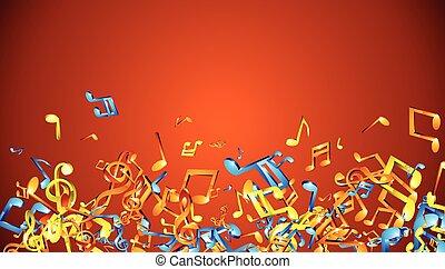 laranja, musical, fundo, notas.
