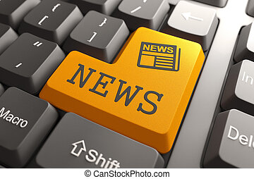 laranja, notícia, conceito, button., teclado