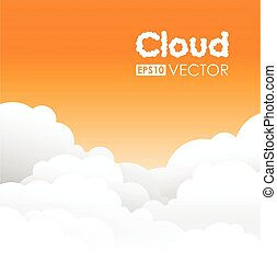 laranja, nuvem, fundo