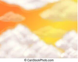 laranja, nuvens, macio, céu