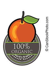 laranja, orgânica, etiqueta