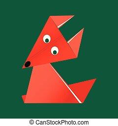 laranja, origami, papel, raposa