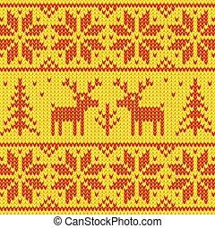 laranja, ornamento, suéter, veado