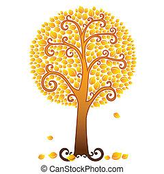 laranja, outono, árvore