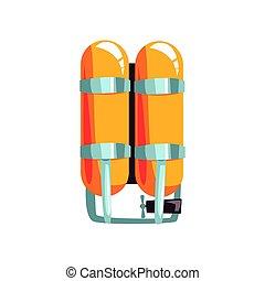 laranja, oxigênio, cilindros, vetorial, ilustração