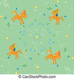 laranja, padrão, cavalo, seamless