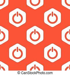 laranja, padrão, hexágono, poder