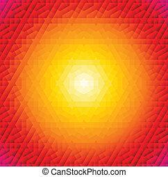 laranja, padrão, quadro, árabe, redondo