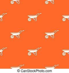 laranja, padrão, vetorial, carrinho de mão