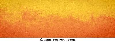 laranja, papel, fundo amarelo