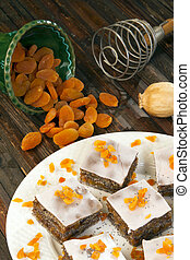 laranja, papoula, semente, bolo