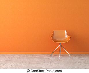 laranja, parede, interior, com, espaço cópia