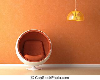 laranja, parede, projeto interior