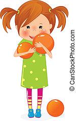 laranja, pequeno, bola, menina