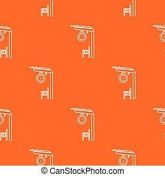 laranja, plataforma, estrada ferro, vetorial, padrão