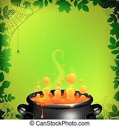 laranja, poção, em, pretas, cauldron, ligado, experiência verde