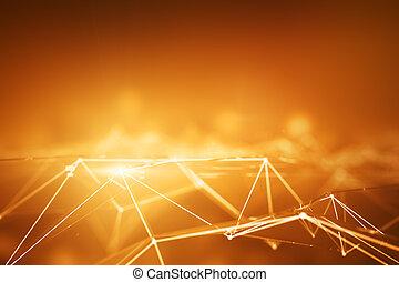 laranja, pontos, conectado