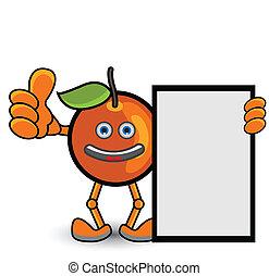 laranja, pose, bandeira, polegar cima