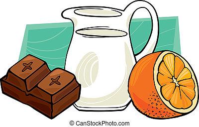 laranja, pote, chocolate leite