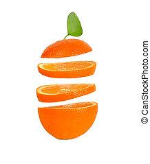 laranja, queda, fundo branco, fatias