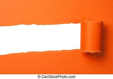 laranja, rasgado, papel, com, espaço cópia