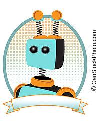 laranja, retrato, aguilhão, robô, teal