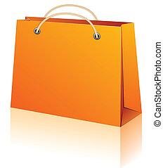 laranja, shopping, bag.
