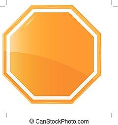 laranja, sinal, isolado, em branco