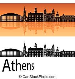 laranja,  Skyline, Atenas, fundo