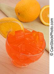 laranja, sobremesa, jello