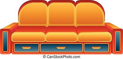 laranja, sofá, ícone, estilo, caricatura