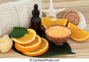laranja, spa, fruta