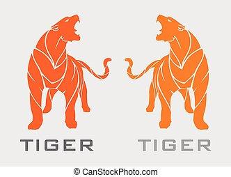 laranja, tiger, ficar, bonito