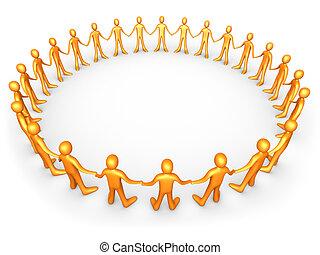 laranja, unidas, -, pessoas