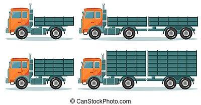 laranja, vazio, caminhão, vetorial