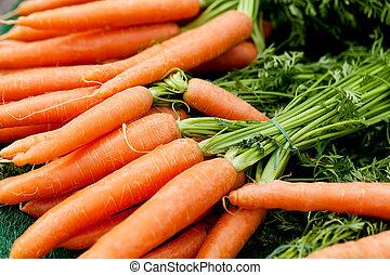 laranja, verão, cenouras, mercado fresco