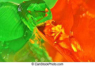 laranja, verde, geléia