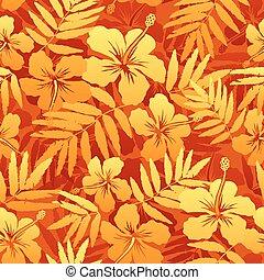 laranja, vetorial, flores tropicais, seamless, padrão