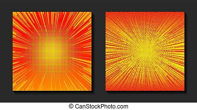 laranja, vetorial, sun., illustration., halftone