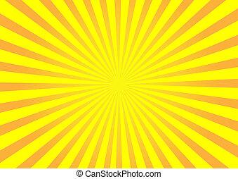 laranja, vetorial, sunburst, fundo