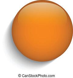 laranja, vidro, círculo, botão, ligado, fundo alaranjado