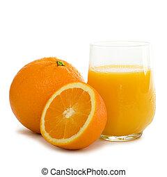 laranja, vidro, pequeno almoço, alto, suco