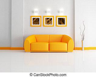 laranja, vivendo, brilhante branco, sala