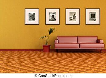 laranja, vivendo, contemporâneo, sala