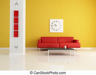 laranja, vivendo, quarto moderno, vermelho