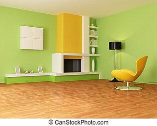 laranja, vivendo, verde, sala
