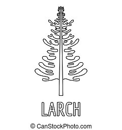 Larch icon, outline style.