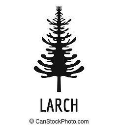 larch tree icon, simple black style - larch tree icon. ...